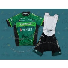 2012 Europcar Vendee Green Cycling Jersey And Bib Shorts Set