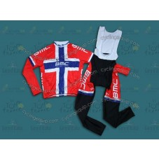 2014 BMC Finland Champion Cycling Long Sleeve Jersey And Bib Pants Set