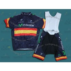 2014 Movistar Spain Champion  Cycling Jersey And Bib Shorts Set