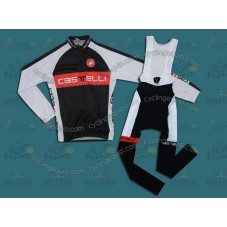 Castelli Black/White/Red Cycling Long Sleeve Jersey And Bib Pants Set