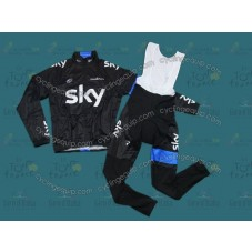 2013 Sky Professional Team Thermal Long Cycling Long Sleeve Jersey And Bib Pants Set