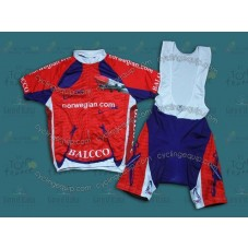 2014 Team Norwegian Balcco Red  Cycling Jersey And Bib Shorts Set