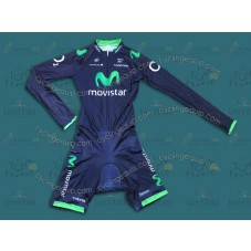 2014 Team Movistar TDF Long Sleeve Cycling Skinsuit Time Trail Skin Suits