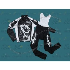 2013 Dragon Totem Black And White Thermal Long Cycling Long Sleeve Jersey And Bib Pants Set