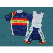 2012 Team Movistar Spain Champion Cycling Jersey And Bib Shorts Set