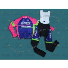 2014 Team Lampre - Merida Cycling Long Sleeve Jersey And Bib Pants Set