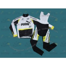 2012 Team Vattenfall Focus Thermal Long Cycling Long Sleeve Jersey And Bib Pants Set