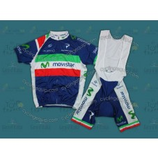 2012 Team Movistar Italy Champion Cycling Jersey And Bib Shorts Set