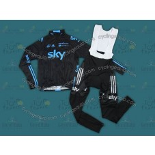 2012 SKY Black Edition Thermal Long Sleeve Cycling Jersey And Bib Pants Set