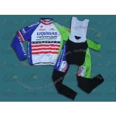 2013 Liquigas US Champion Thermal Long Sleeve Cycling Jersey And Bib Pants Set