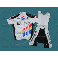 Throwback Bansto White And Black Cycling Jersey And Bib Shorts Set