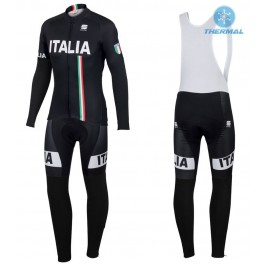 2016 Sportful Italy IT Black Thermal Long Cycling Long Sleeve Jersey And Bib Pants Set