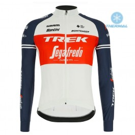 2020 Trek Segafredo Factory Racing White-Red Thermal Long Sleeve Cycling Jersey