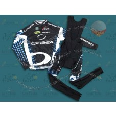 2011 Orbea Black and Blue Dot Thermal Cycling Long Sleeve Jersey And Bib Pants Set