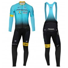 2017 Team Astana Blue Long Sleeve Cycling Jersey And Bib Pants Kit