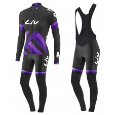 2017 Liv Race Day Women's Black-Purple Long Sleeve Cycling Jersey And Bib Pants Kit