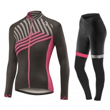 2017 Liv Accelerate Women's Black-Pink Long Sleeve Cycling Jersey And Pants Kit