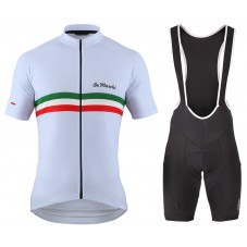 2016 De Marchi PT Italy Flag White Cycling Jersey And Bib Shorts Set