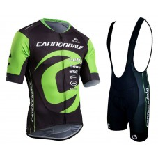 2018 Cannondale Factory Black-Green Cycling Jersey And Bib Shorts Kit