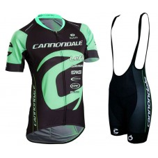 2018 Cannondale Factory Women's Black-Green Cycling Jersey And Bib Shorts Kit
