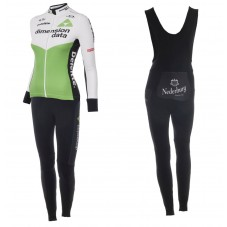 2018 Dimension Data Women Long Sleeve Cycling Jersey And Bib Pants Kit