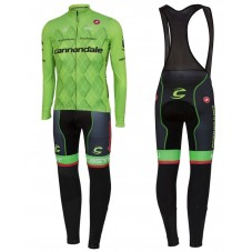 2016 Cannondale Team Green Pro Long Sleeve Cycling Jersey And Bib Pants Set