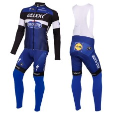 2016 Etixx-Quick Step Blue Long Sleeve Cycling Jersey And Bib Pants Set