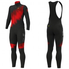 2019 ALE Pulse Black-Red Long Sleeve Cycling Jersey And Bib Pants Kit