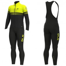 2019 ALE Slide Black-Yellow Long Sleeve Cycling Jersey And Bib Pants Kit