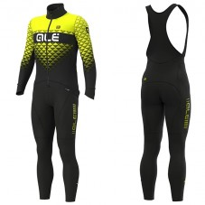 2019 ALE Summit Black-Yellow Long Sleeve Cycling Jersey And Bib Pants Kit