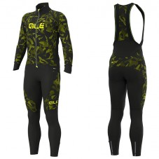 2019 ALE Camouflage Black-Yellow Long Sleeve Cycling Jersey And Bib Pants Kit