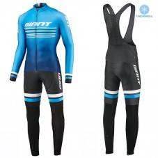 2019 Giant Race Day Light Blue Thermal Cycling Jersey And Bib Pants Kit