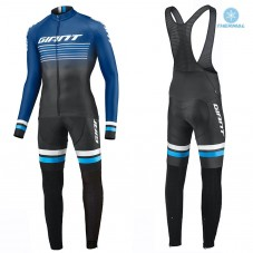 2019 Giant Race Day Dark Blue Thermal Cycling Jersey And Bib Pants Kit