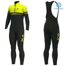 2019 ALE Slide Black-Yellow Thermal Cycling Jersey And Bib Pants Kit