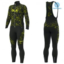 2019 ALE Camouflage Black-Yellow Thermal Cycling Jersey And Bib Pants Kit