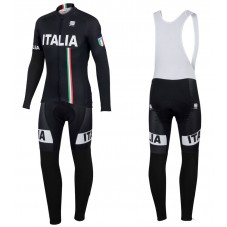 2016 Sportful Italy IT Black Long Sleeve Cycling Jersey And Bib Pants Set