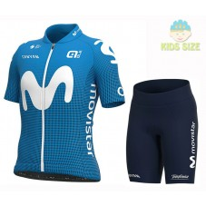 2020 Team Movistar Kids Cycling Jersey And Shorts Kit