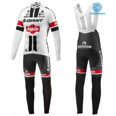 2016 Giant Alpecin TDF Edition White Thermal Long Cycling Long Sleeve Jersey And Bib Pants Set