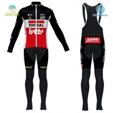 2020 Team Lotto Red Kids Thermal Cycling Jersey And Bib Pants Kit