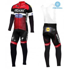 2016 Etixx-Quick Step TDF Edition Red Thermal Long Cycling Long Sleeve Jersey And Bib Pants Set