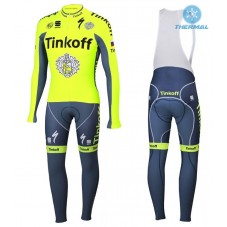2016 Tinkoff Race Team Thermal Long Cycling Long Sleeve Jersey And Bib Pants Set