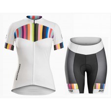 2016 Bontrager Anara Women White And Color Stripes Cycling Jersey And Regular Shorts Set