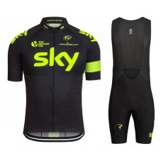 2016 Sky Team Fluo Edition Cycling Jersey And Bib Shorts Set