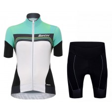 2017 Santini Queen Of The Mountains Women's Green Cycling Jersey And Shorts Set