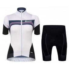 2017 Santini Queen Of The Mountains Women's White Cycling Jersey And Shorts Set