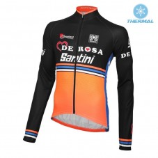 2016 Team DE-ROSA Black-Orange Thermal Long Sleeve Cycling Jersey