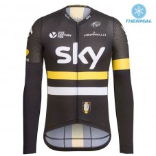 2016 Team Sky IV Black-Yellow Thermal Long Sleeve Cycling Jersey