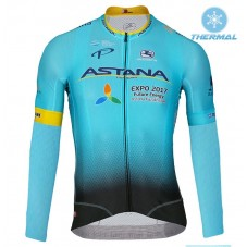 2017 Team Astana Blue Thermal Long Sleeve Cycling Jersey