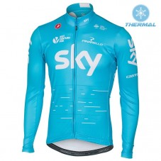 2017 Team SKY Blue Thermal Long Sleeve Cycling Jersey