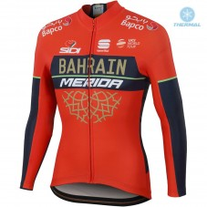 2018 Team Merida Bahrain Red Thermal Long Sleeve Cycling Jersey